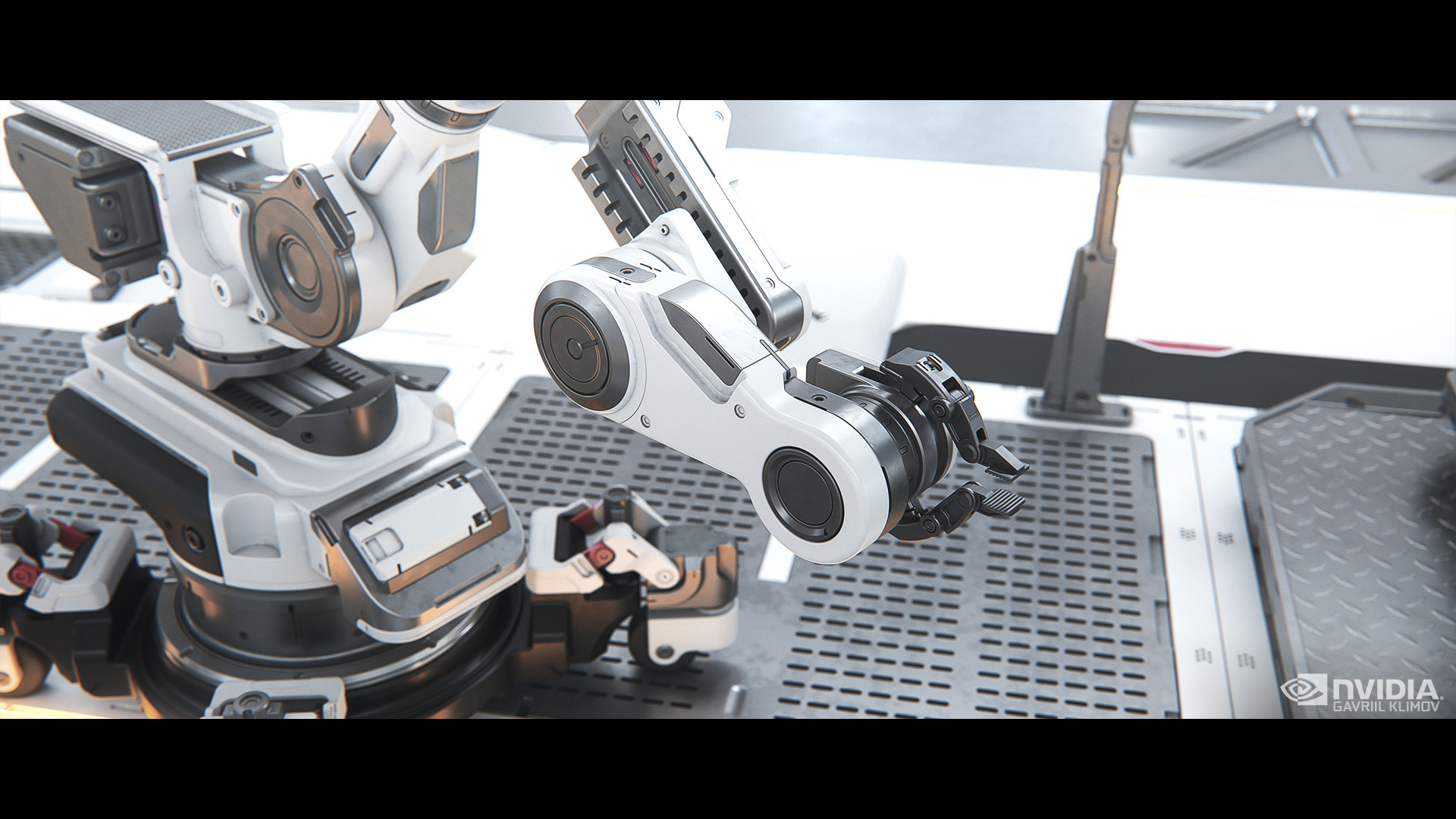 Robotic arm by Gregor Kopka: https://www.artstation.com/scrutch
