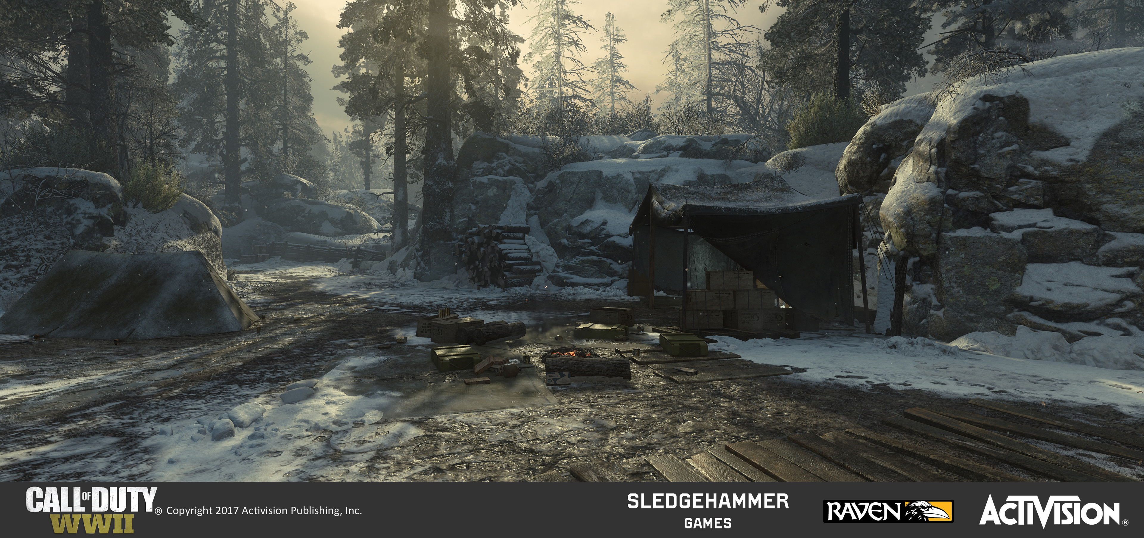 US Forward Campsite: Worked on terrain treatment and set dress of the campsite, which is featured in the into cinematic of the map (U.S. side) and serves as the first spawn point of that team.
