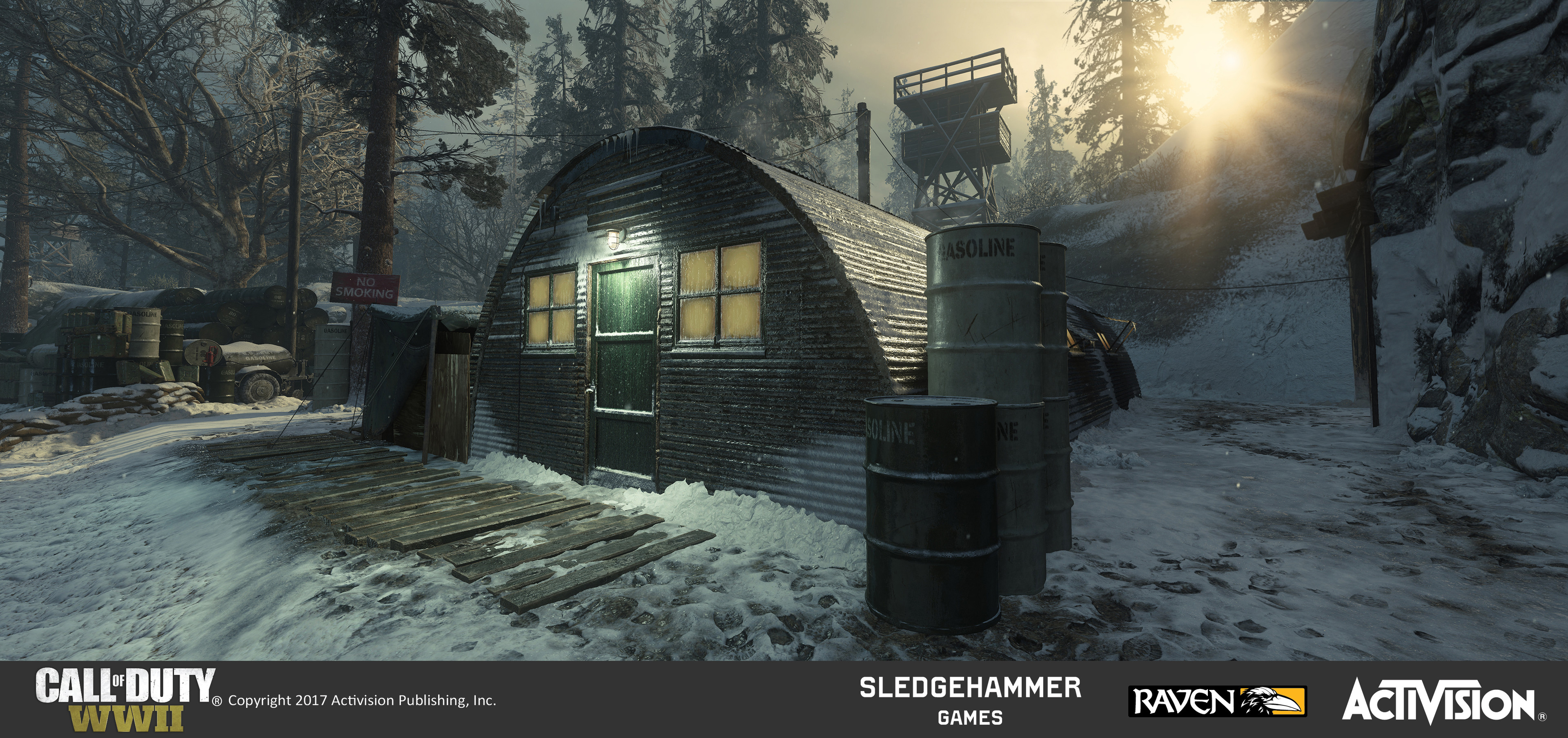 Quonset huts: Finished model of Quonset hut model in map after material painting in Substance painter. Also responsible for terrain geo and blends in the surrounding area.