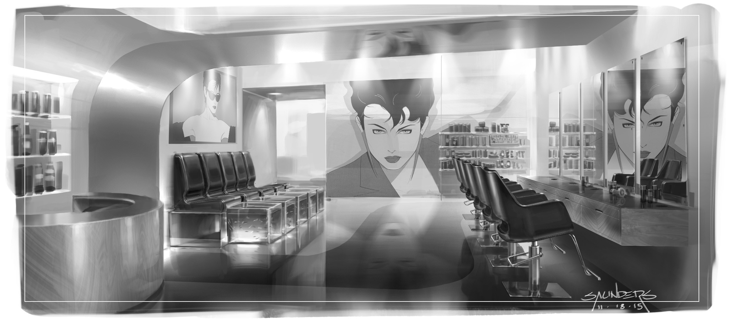 A more 80's New Wave inspired design. Art on the walls is Nagel, of course.