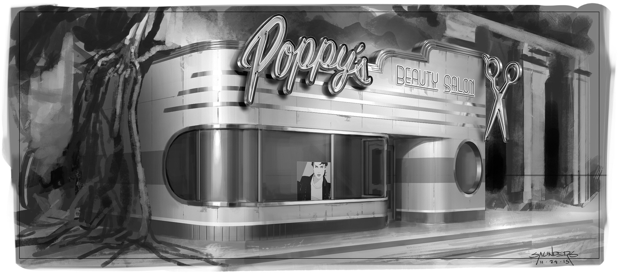A pass at Poppy's Salon exterior featuring 50's streamline design.