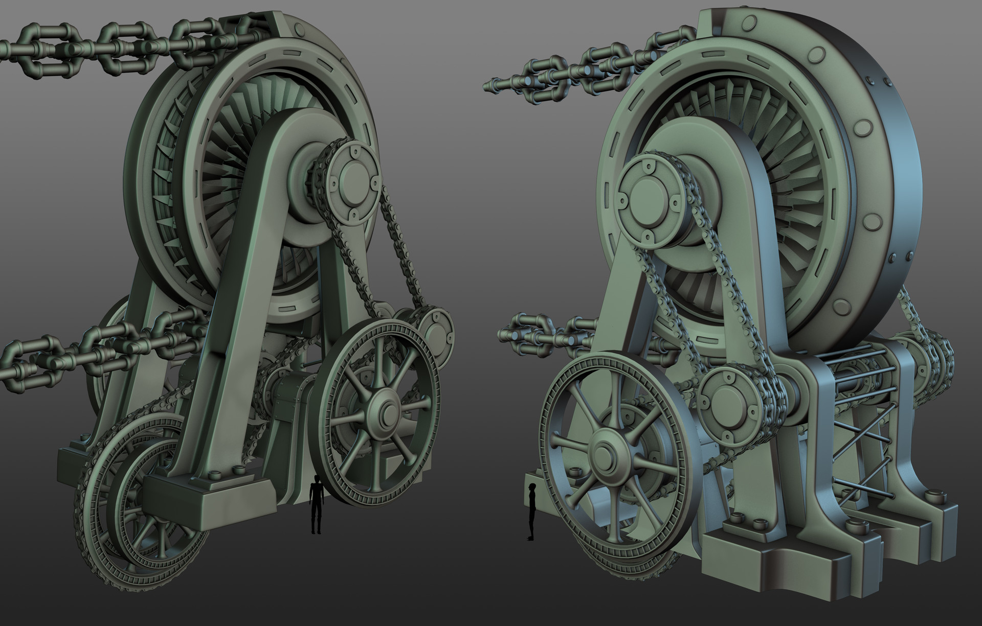 Kaptar chain winch - high poly
