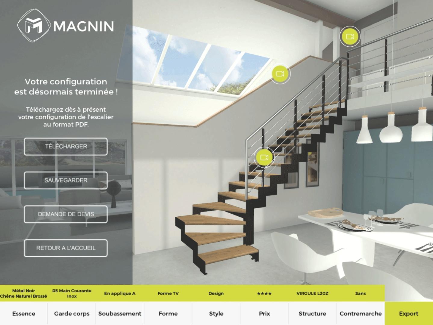 Application PC - Escalier présenté avant l'export