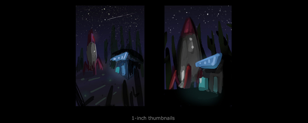 1-inch thumbnails for initial concept phase. I changed the cacti to pine trees to capture a more identifiable forest