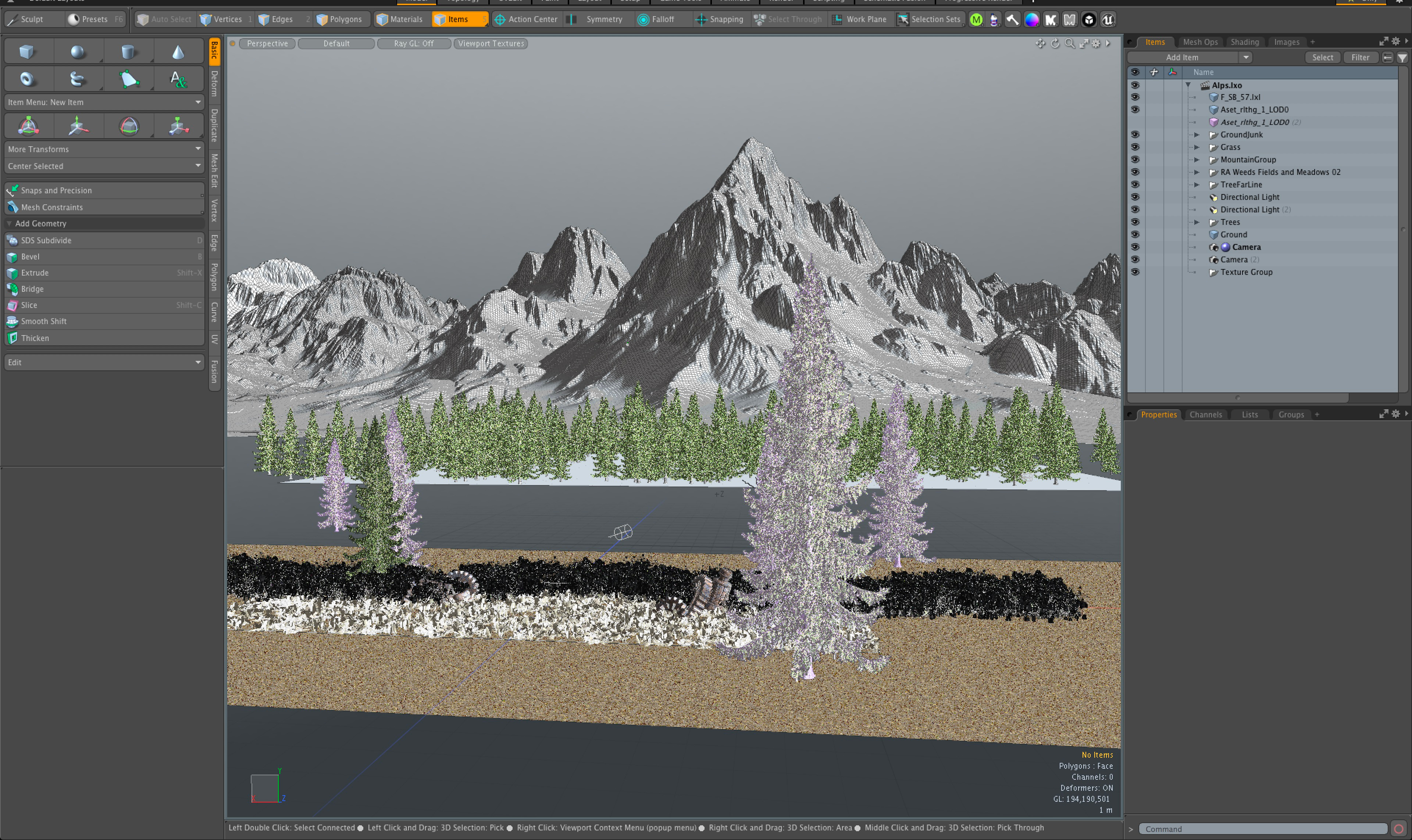 Modo was used for the scene layout. As you can see, it only works from the camera angle.