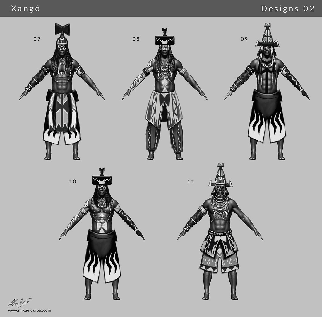 Second batch of concepts. Further exploration of ornaments and headdresses, this time using a bit more the axe and lightning motifs.