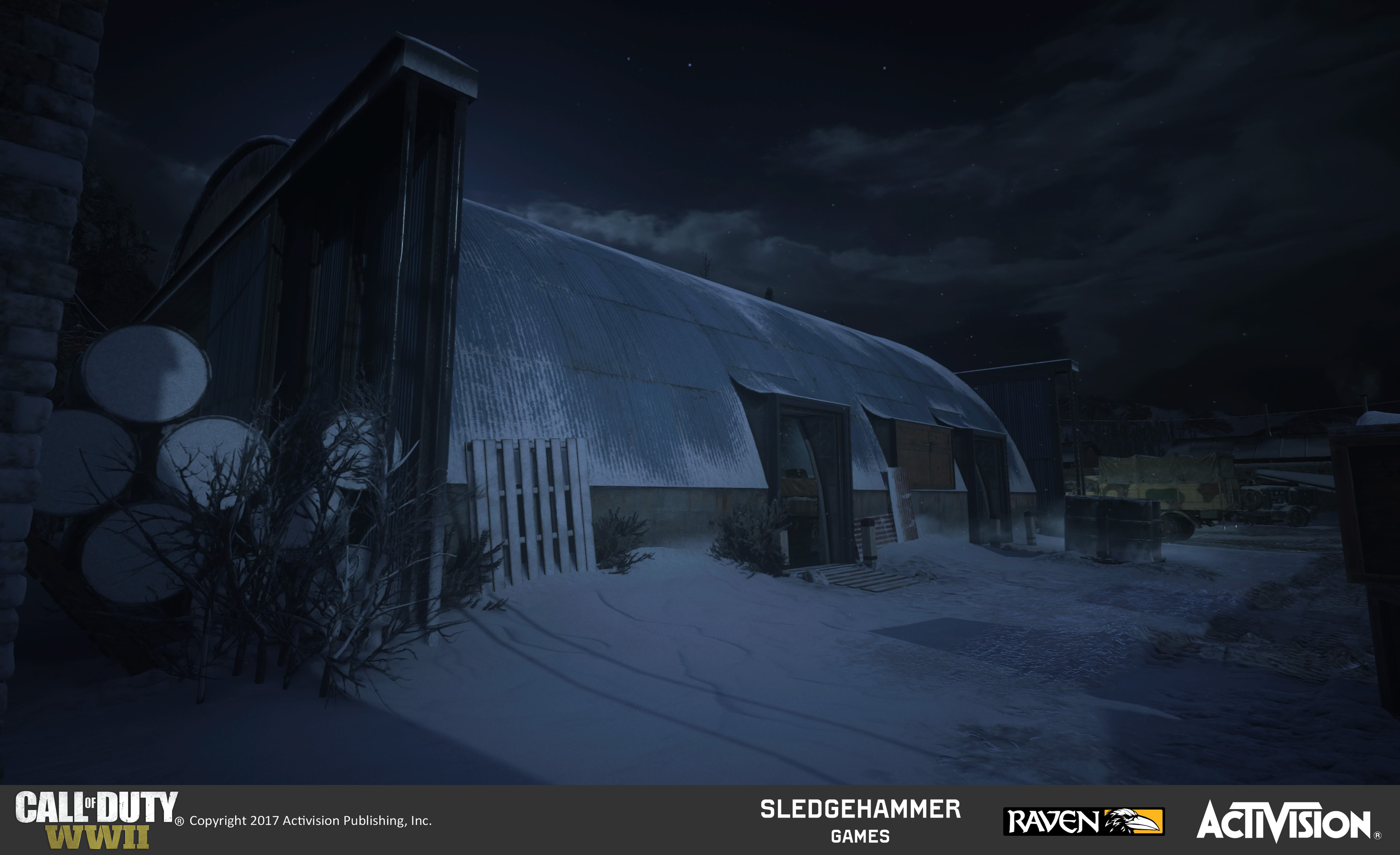 Small airplane hangar exterior. Responsible for world building which included set-dressing, terrain and architecture construction, as well as material blend treatments utilizing custom and pre-existing materials.