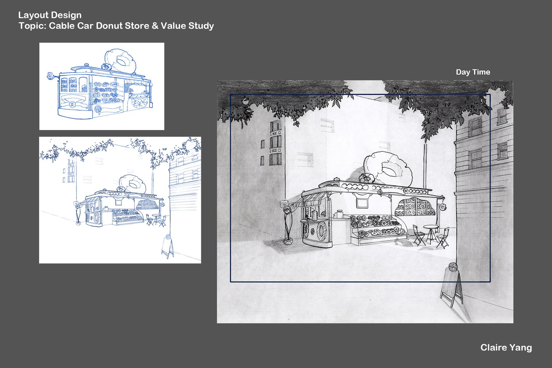 ArtStation - Cable Car Donuts Shop, Claire Hui Yang