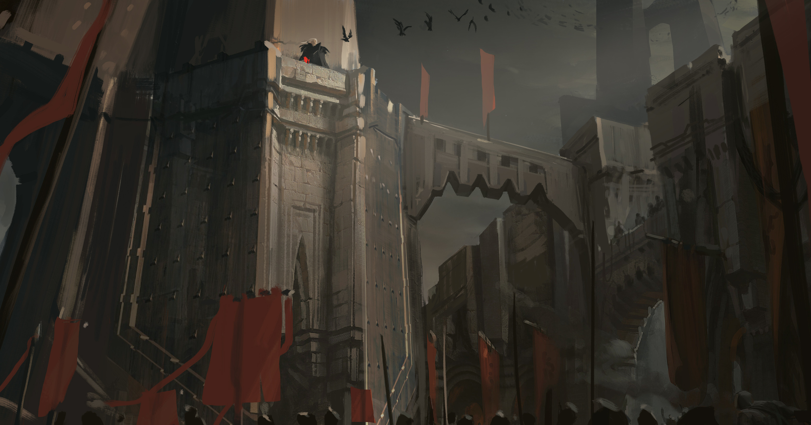 Concept art for a reverse shot of the balcony Swain is standing on. This one ended up getting cut for scope reasons ( Banners, soldier heads, etc ), but also because the one-shot version had more impact in the end.