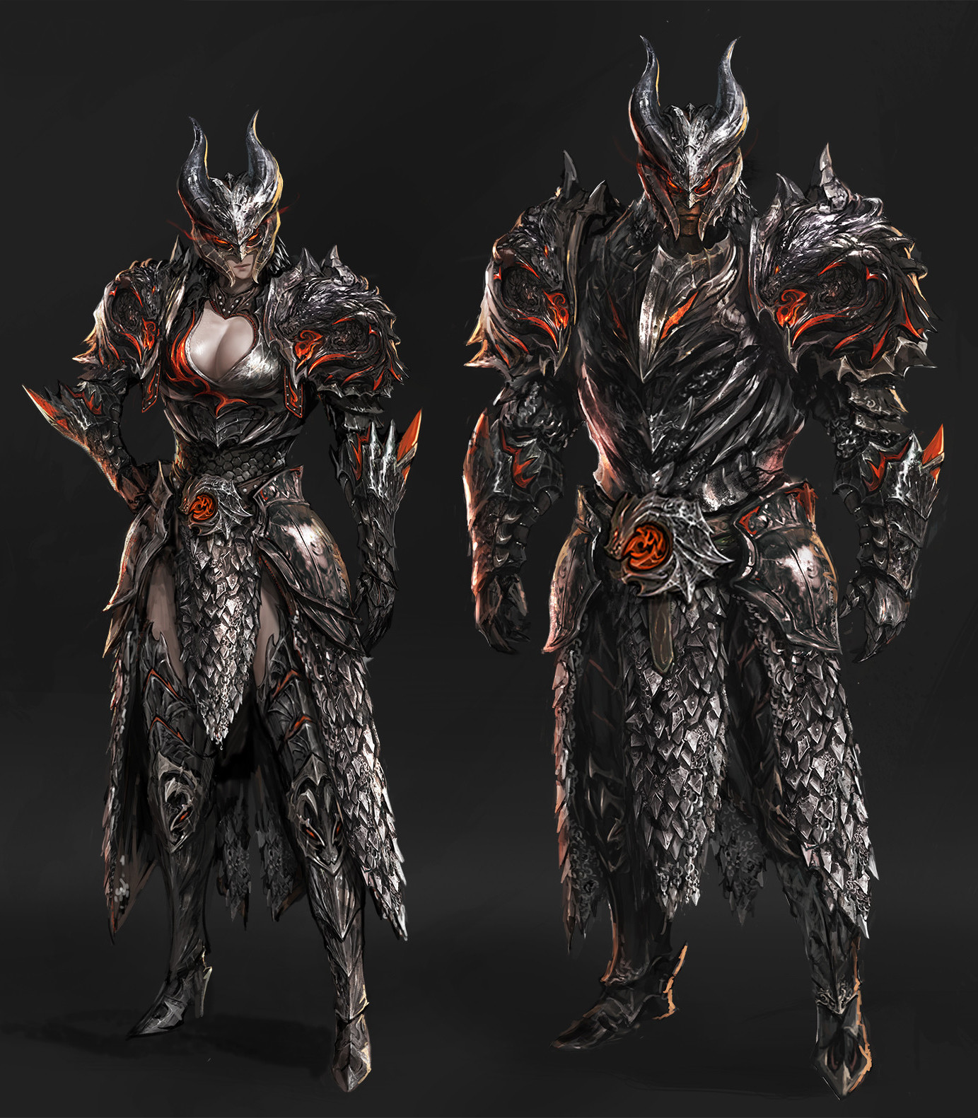 Artstation Dragon Armor Set Kyung Han Kim Female dragon armored corset 2. dragon armor set kyung han kim