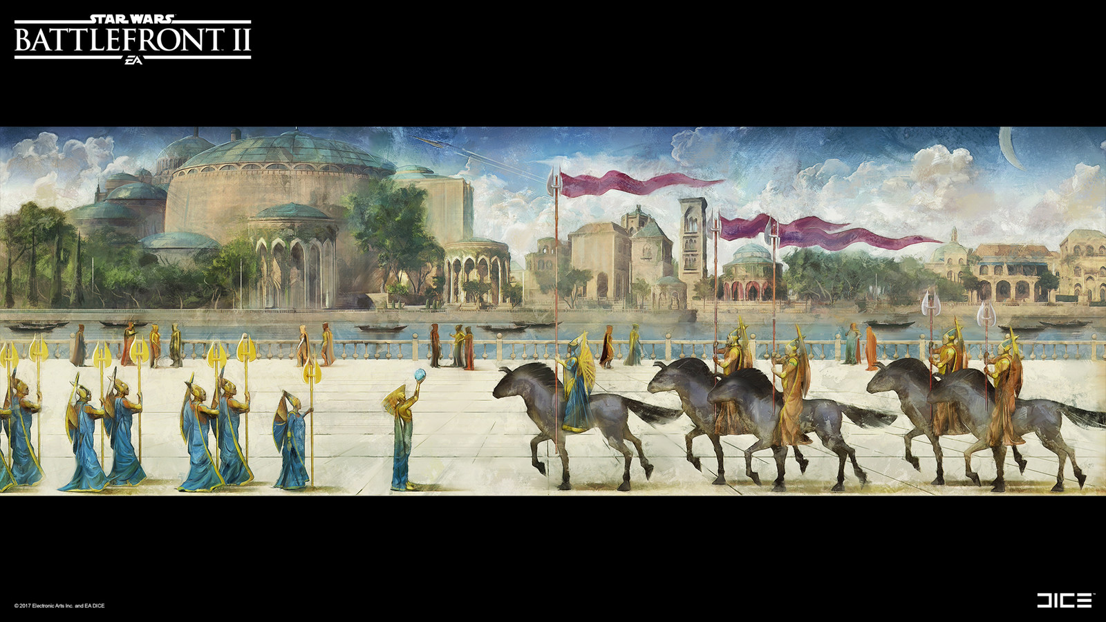 This painting was divided up into 3 pieces, placed on a long wall in the palace.