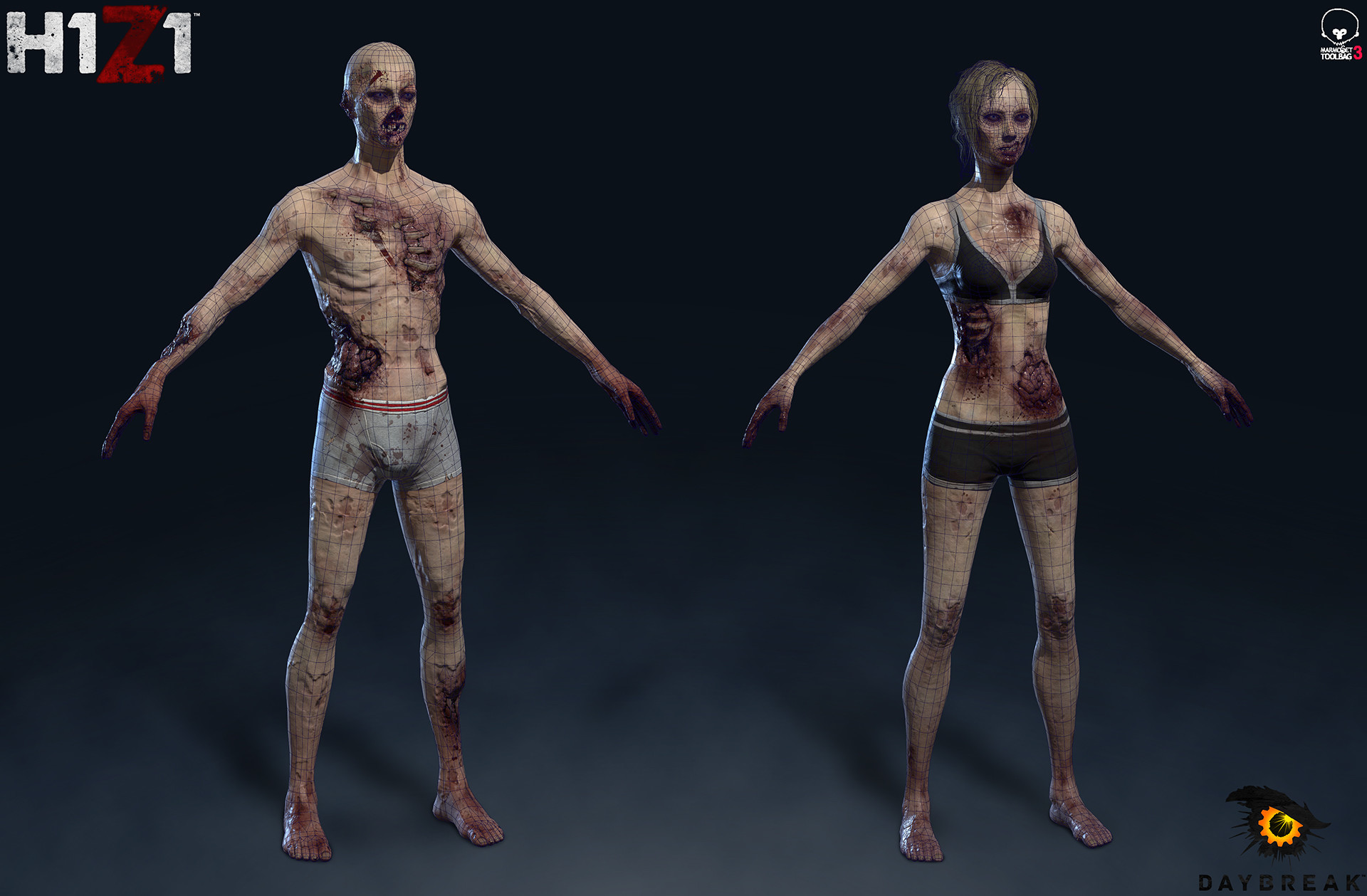 Satoshi arakawa zombie male female wireframe