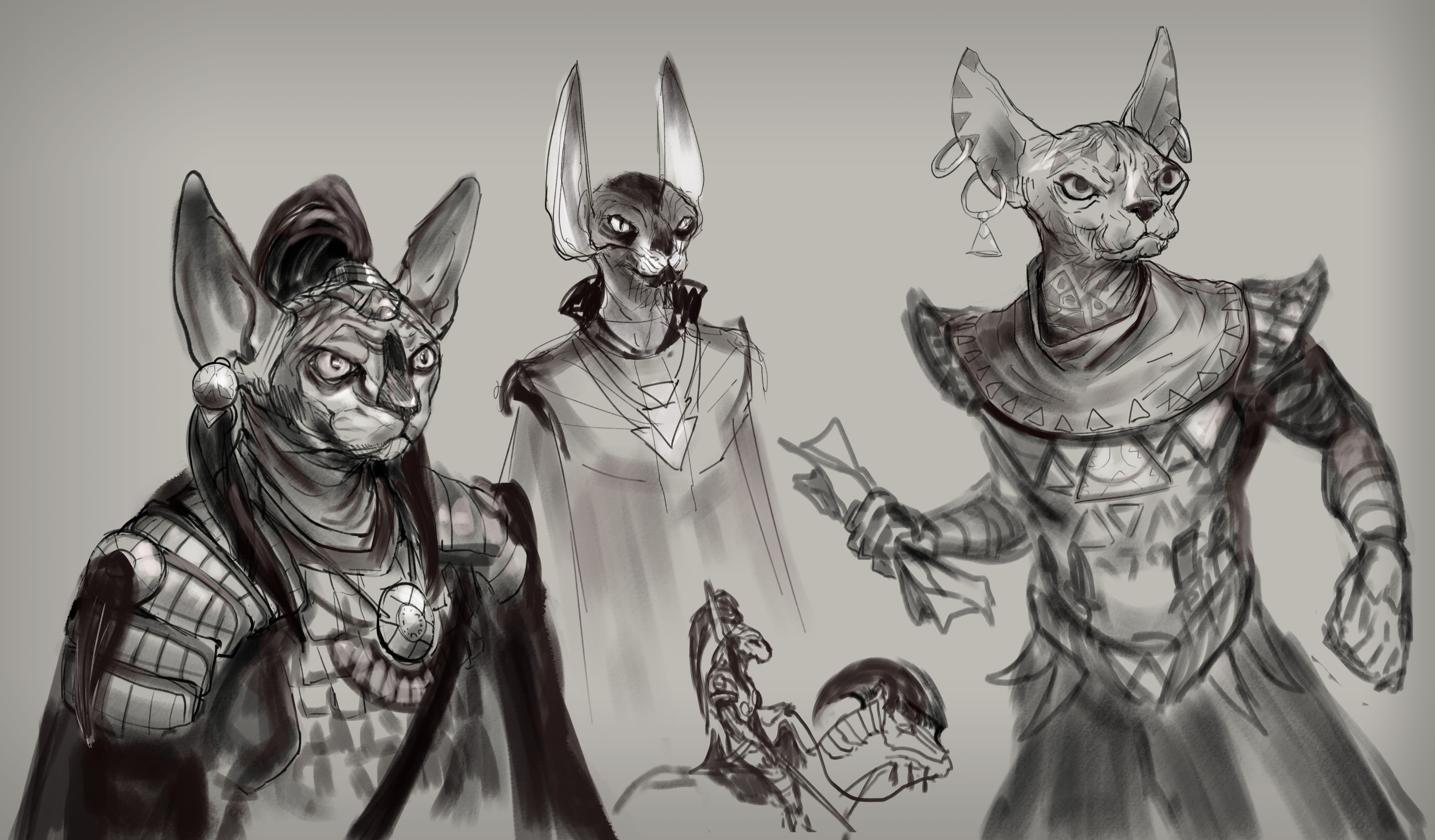 Quick exploration sketches for heroes.