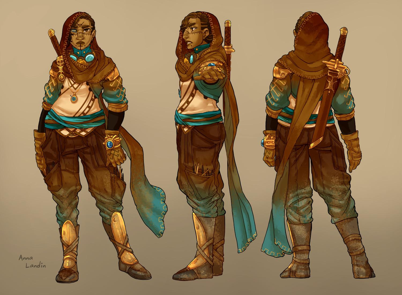 3-part turnaround of the costume design
