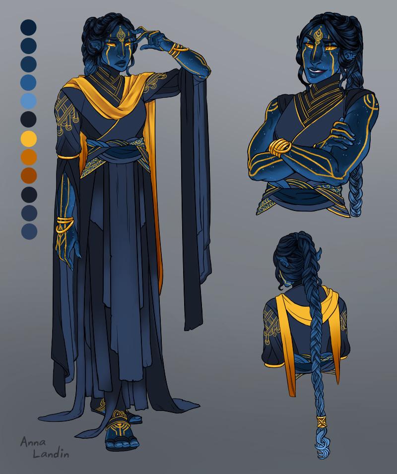 Costume design details, with colour palette