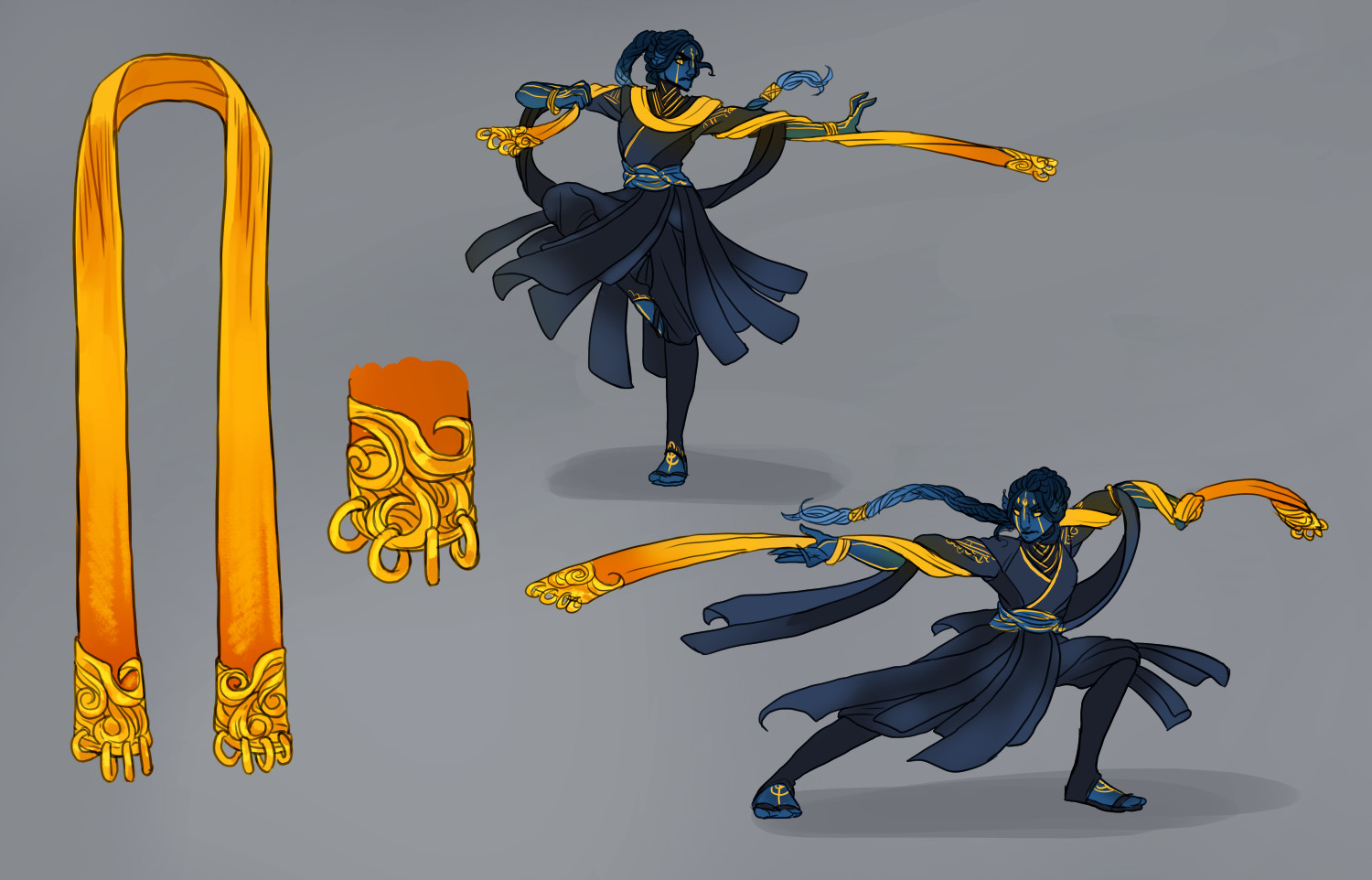 Sketches of fighting poses using the weighted battle scarf