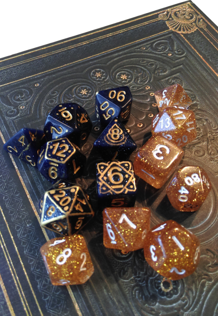 Customised dice set to match the character