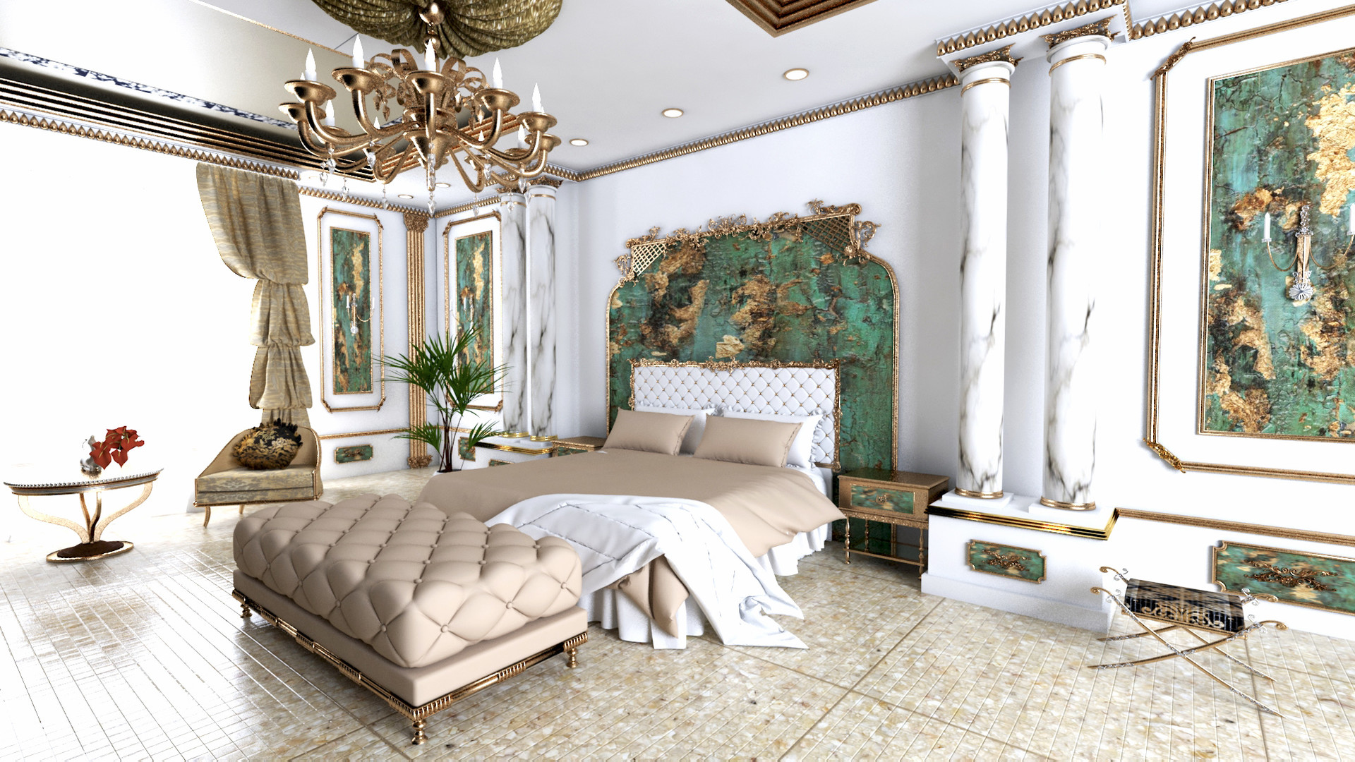 ArtStation - 3D Royal Bedroom Interior Design, Marry o\' mariya