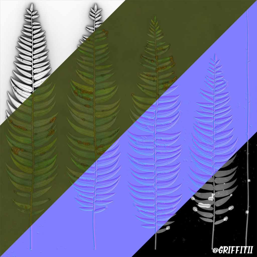 Foliage (Fern Board) Texture Breakdown (AO - Albedo - Normal - Roughness)
