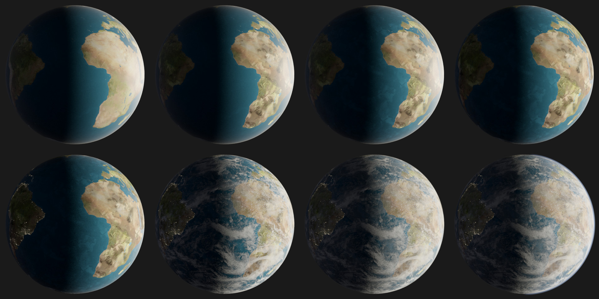 Breakdown of the workflow, from top left, to bottom right.
