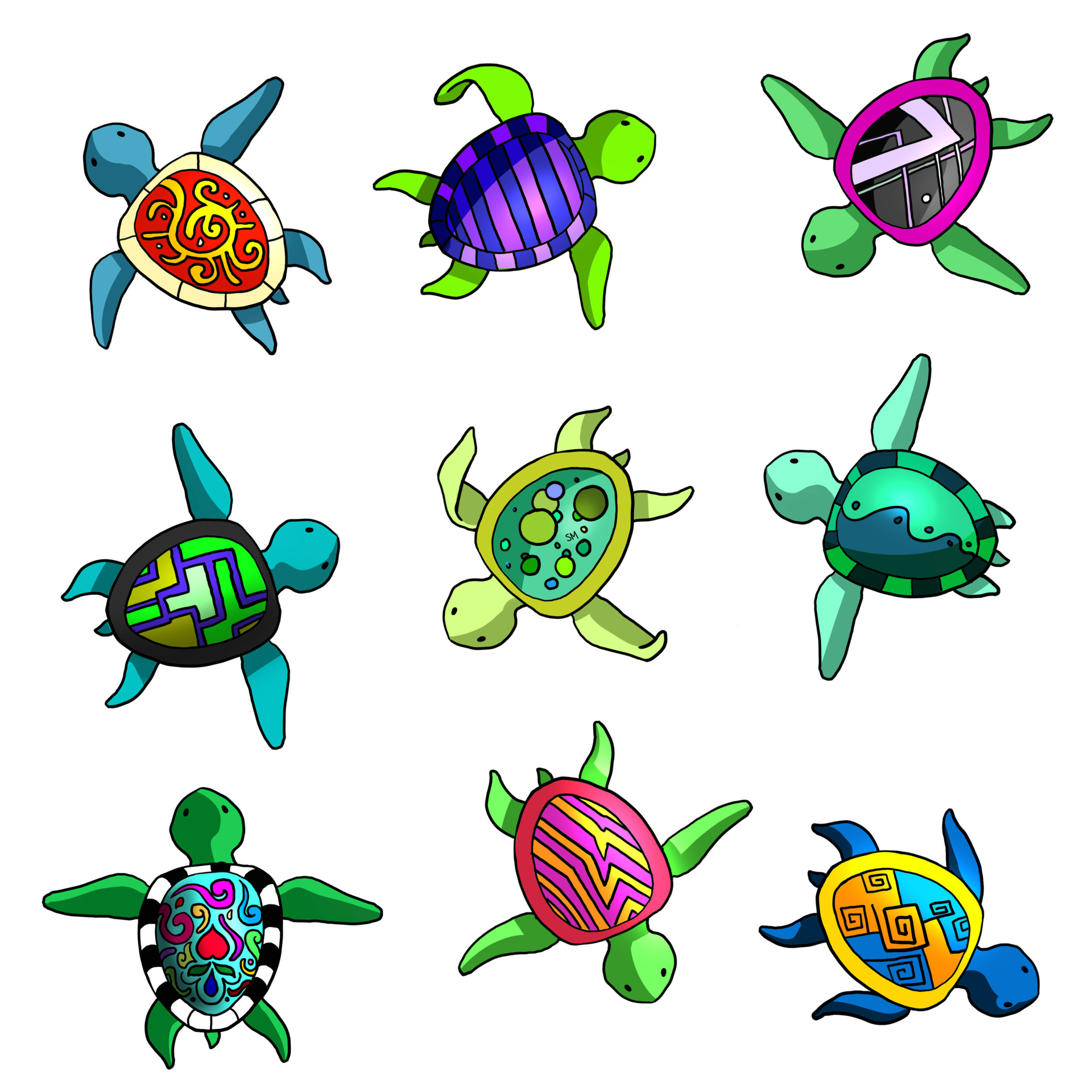 Shellz art pattern turtles