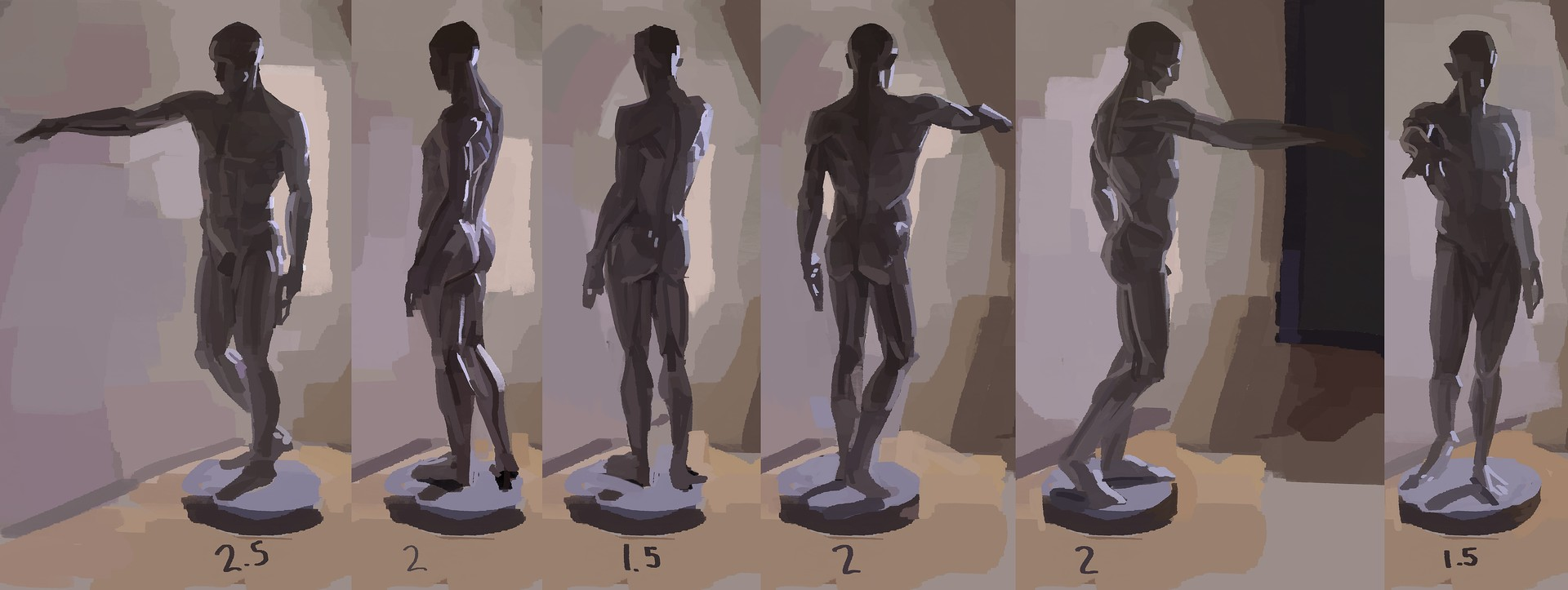 Some studies of the écorché. Numbers underneath each paint are hours spent on them.