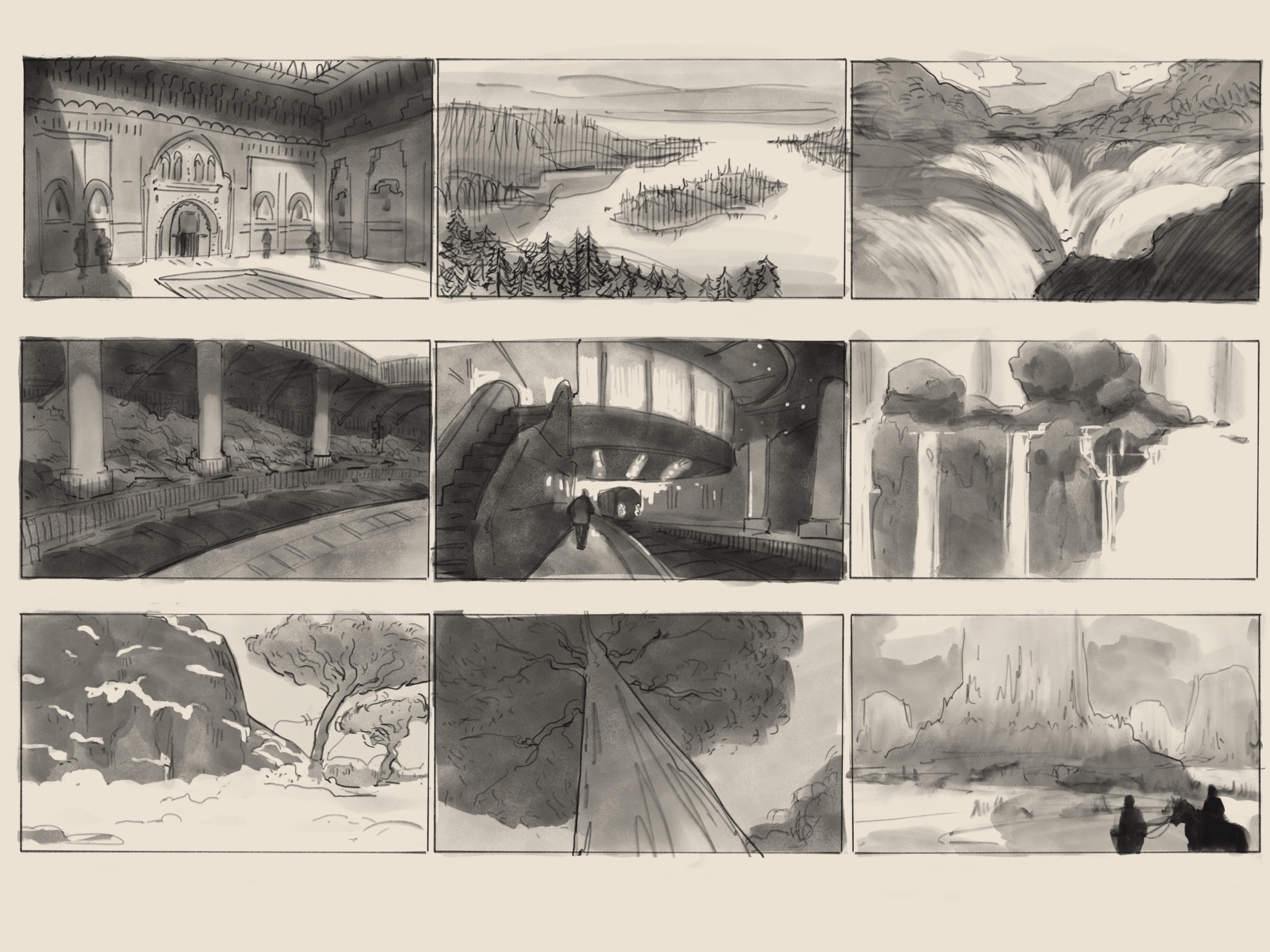 Sample of some enviro thumbnail sketches.
