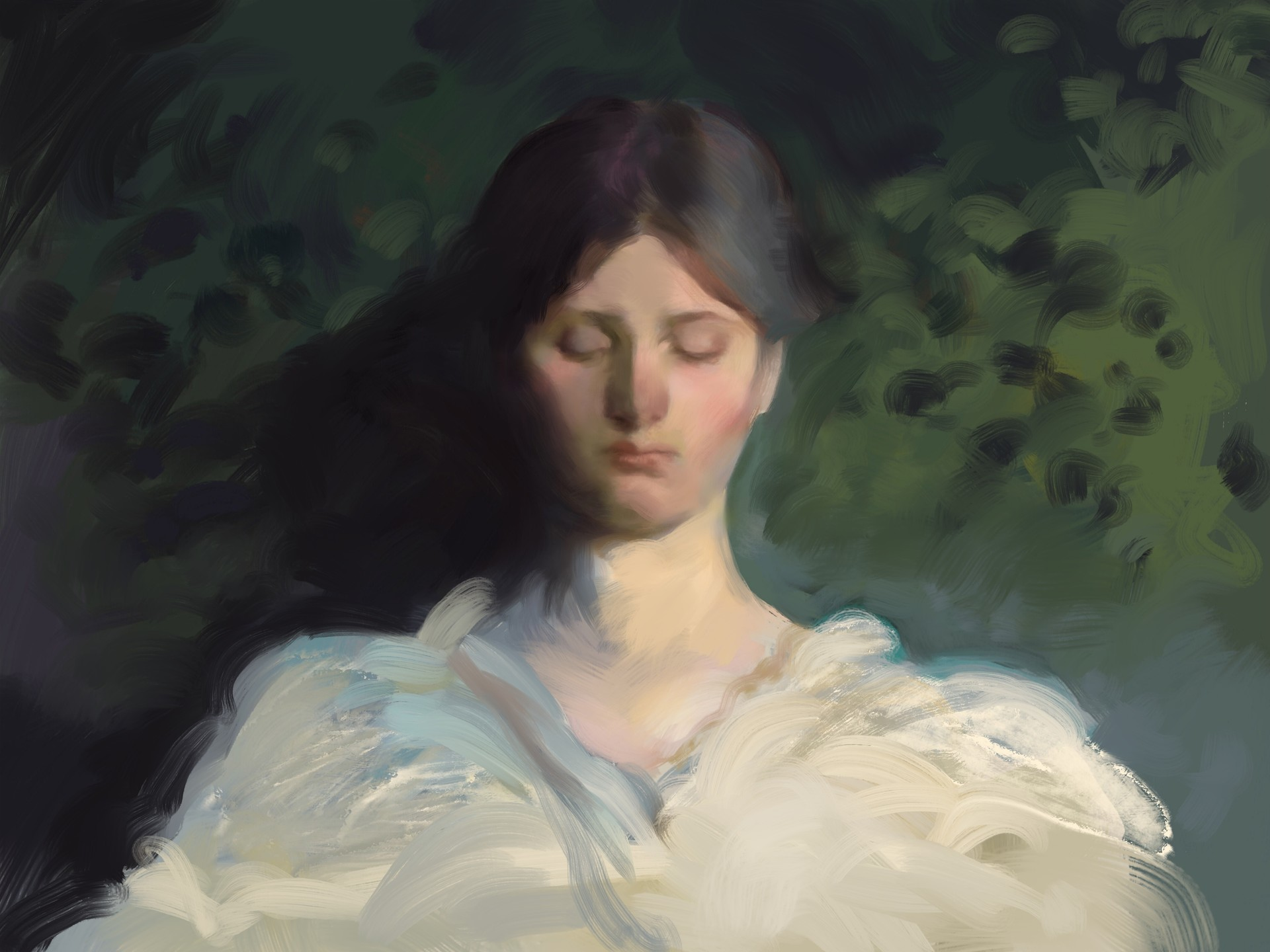 Playing around with painterly brushes, after Thayer.