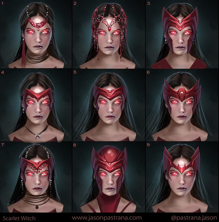 Here are some Scarlet Witch designs. I tried to do something completely different then what's in the film and bring it back a little closer to the comics. The designs in the film are amazing but probably the furthest departure