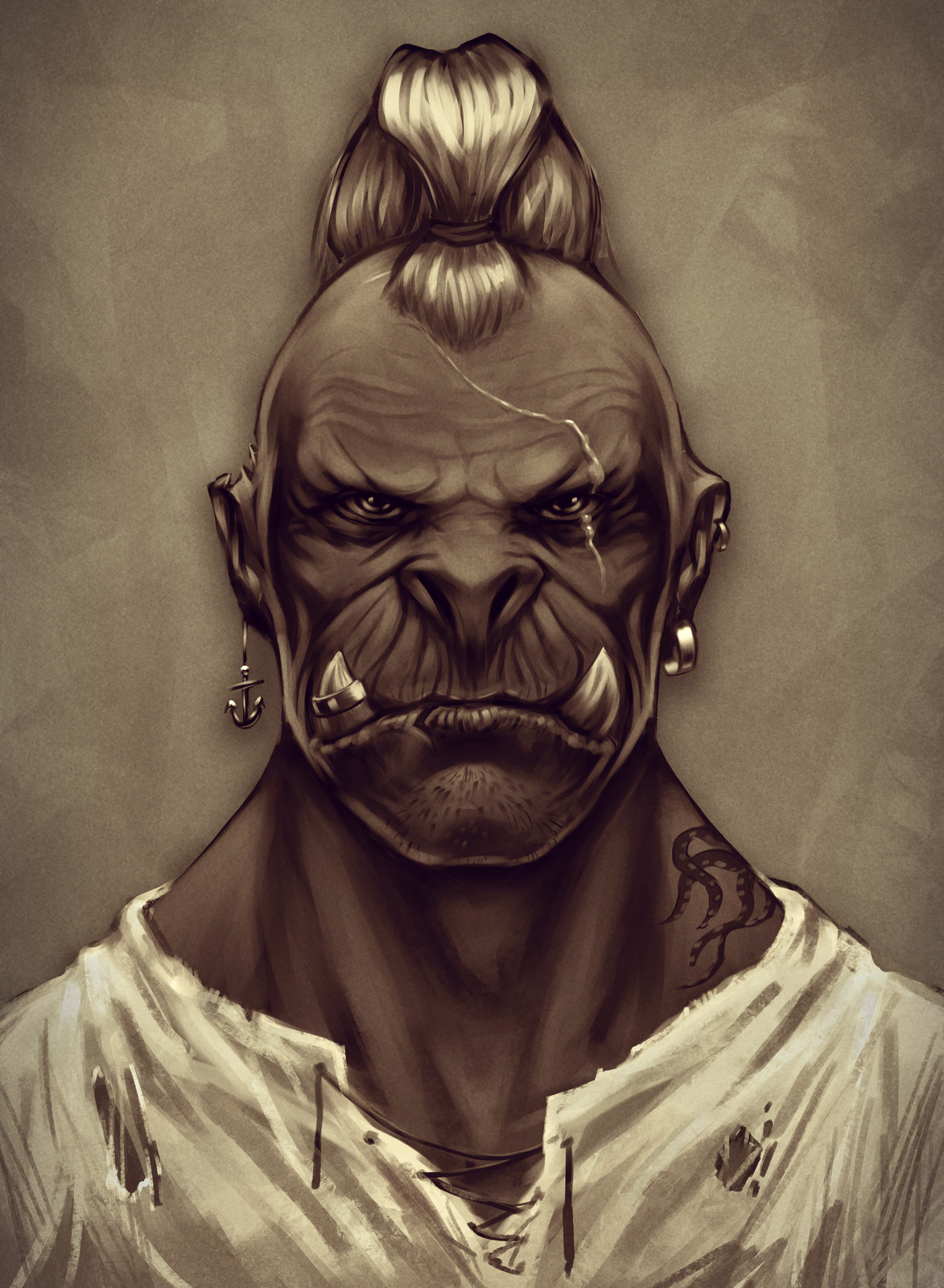 Portrait of an Orc pirate