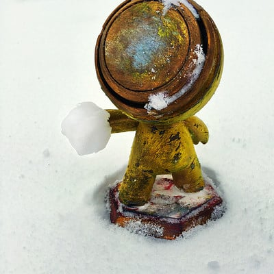 Mat 3D Print and 2D Paint - Playing with snow in March