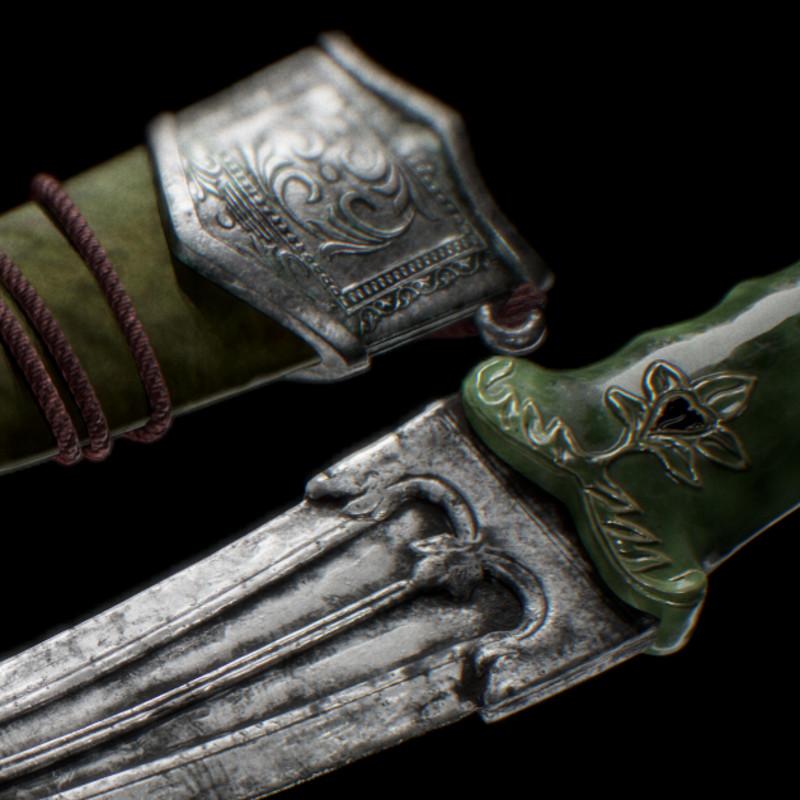 KHANJAR Mughal gem-set jade-hilted dagger
