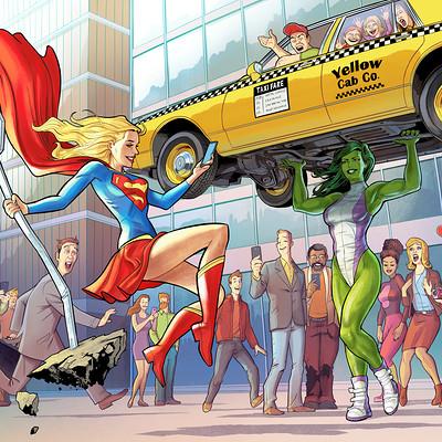 Serge fiedos shehulk vs supergirl by serge fiedos