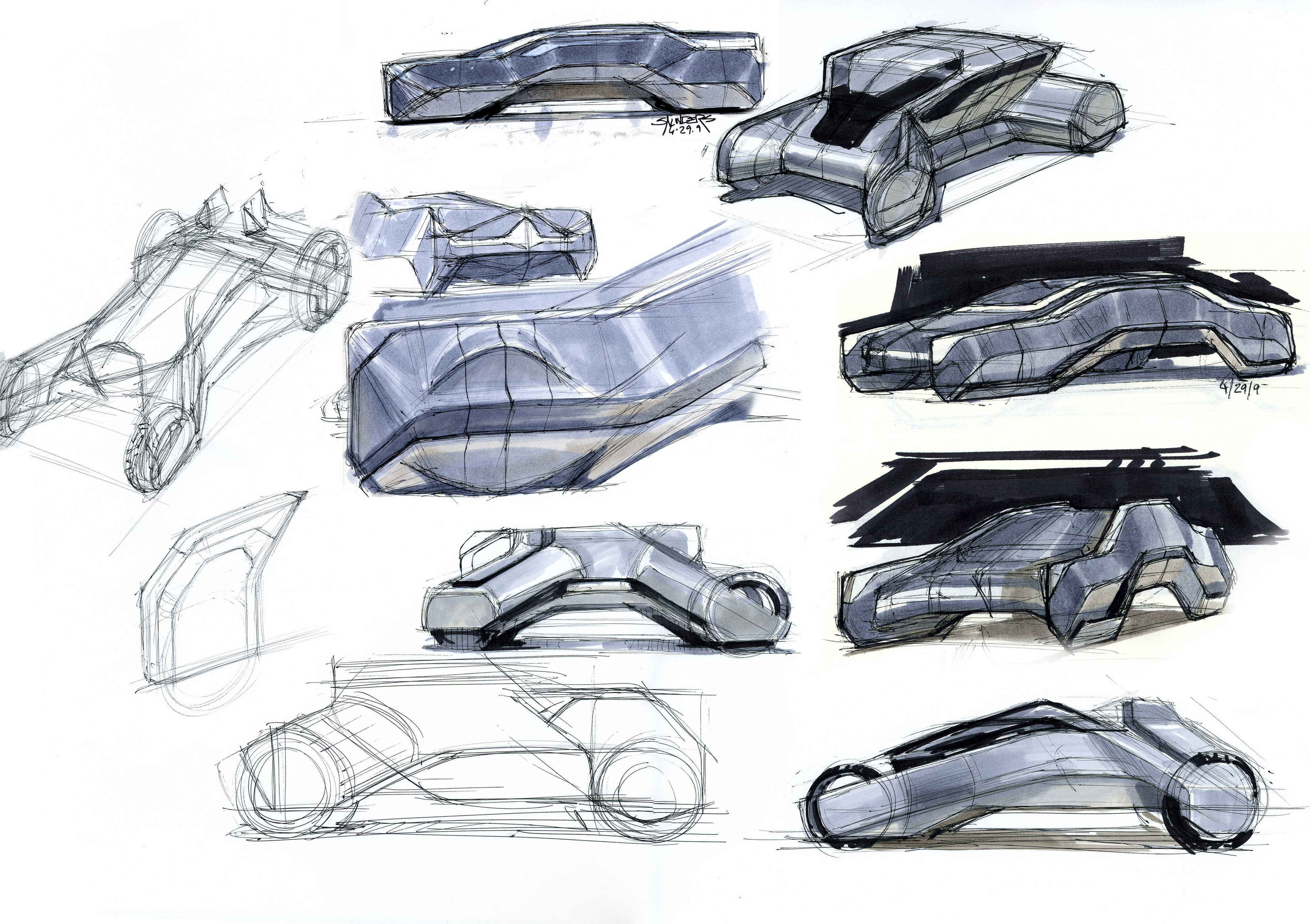 A page of rough marker sketches for Tron background vehicles.