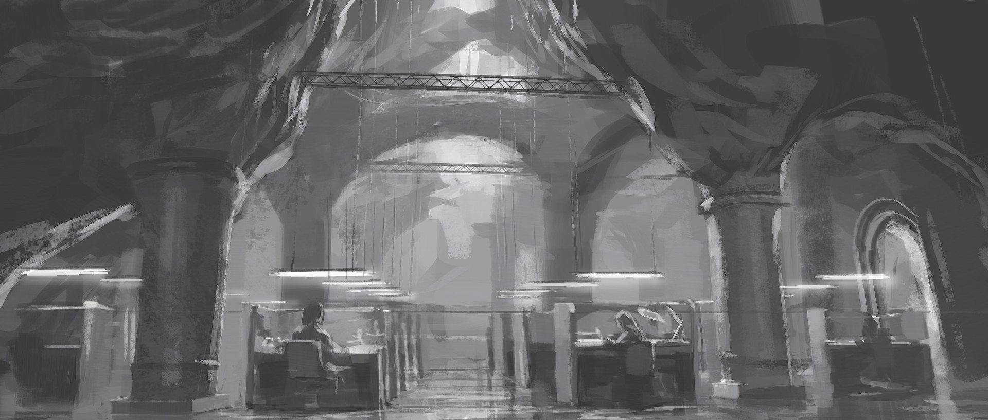 One of several early sketches of what the headquarters could look like, set in an ancient cistern or catacombs.