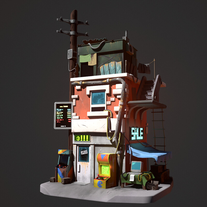 Retro postapo building -  Polycount Contest