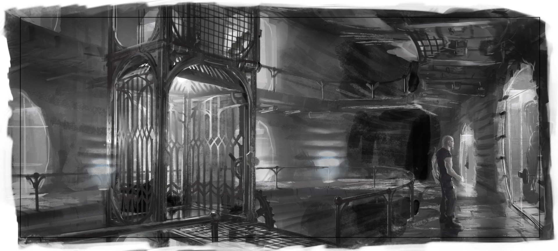 The first B&W thumbnail I did to establish the look. I'll generally lay out four of these on a page and work on them simultaneously.