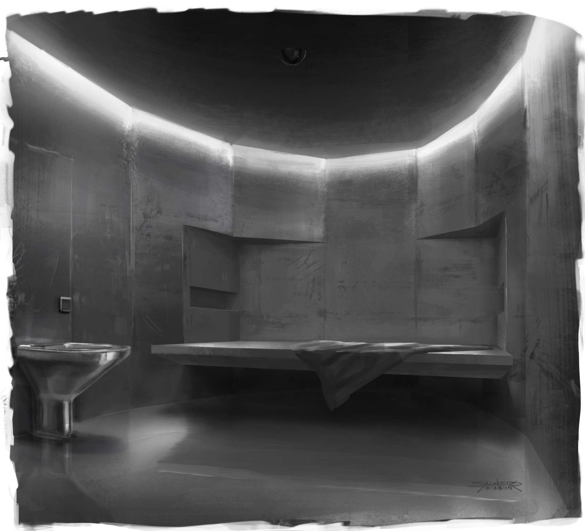 Thumbnail sketch of what a cell might look like. I design as much for lighting as for actual space, so these B&W paintings help me to focus on just the forms and how they will affect the lighting composition of the scene.