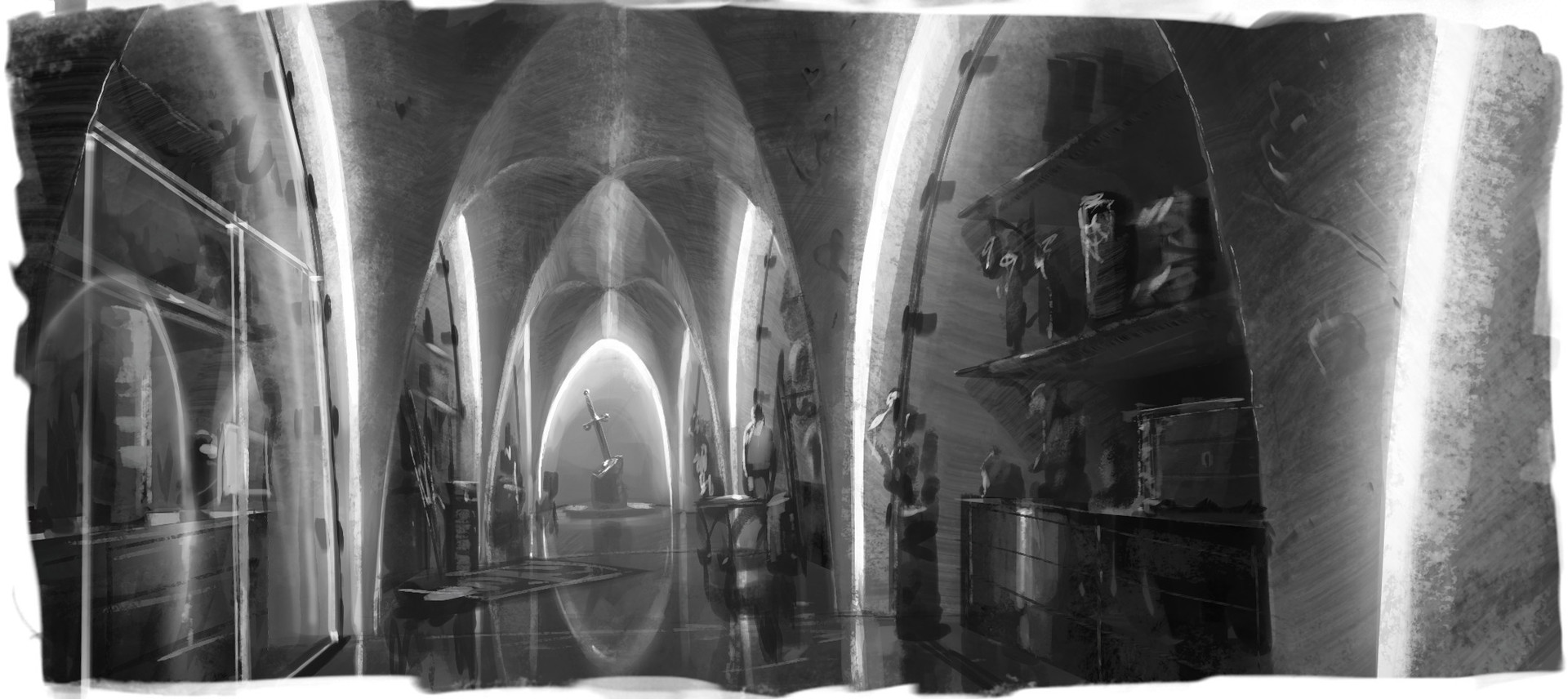 A sketch for the vault of precious and dangerous artifacts. Trying to combine the medieval with the modern.