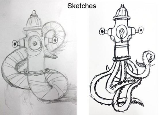 My original idea was to make the creature half worm, but decided an octopus would be more interesting.