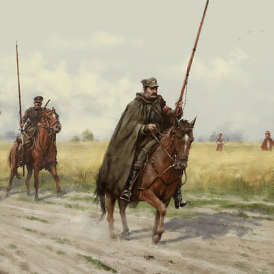 Jakub rozalski 1920 polanian lancers on the patrol