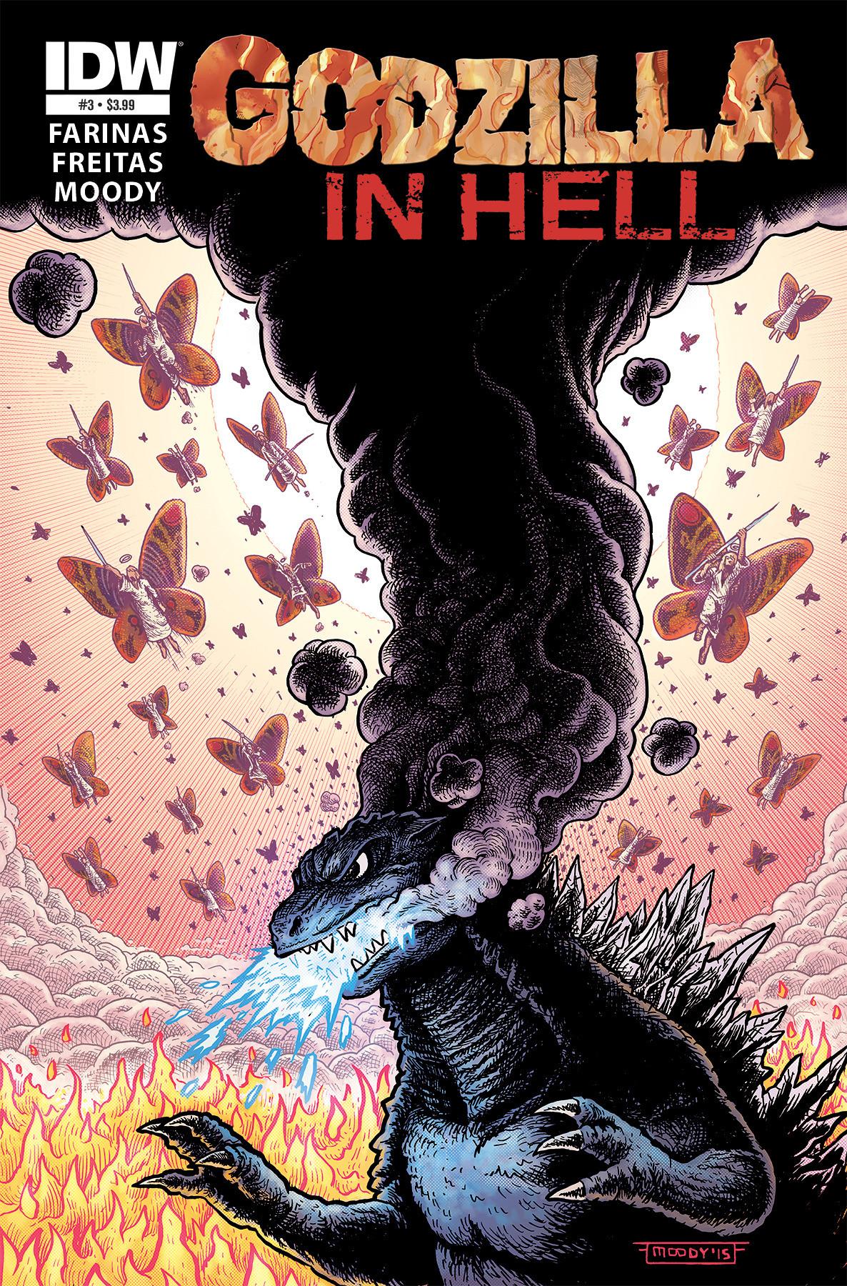 Godzilla in Hell #3 cover art, alternative cover dressing.