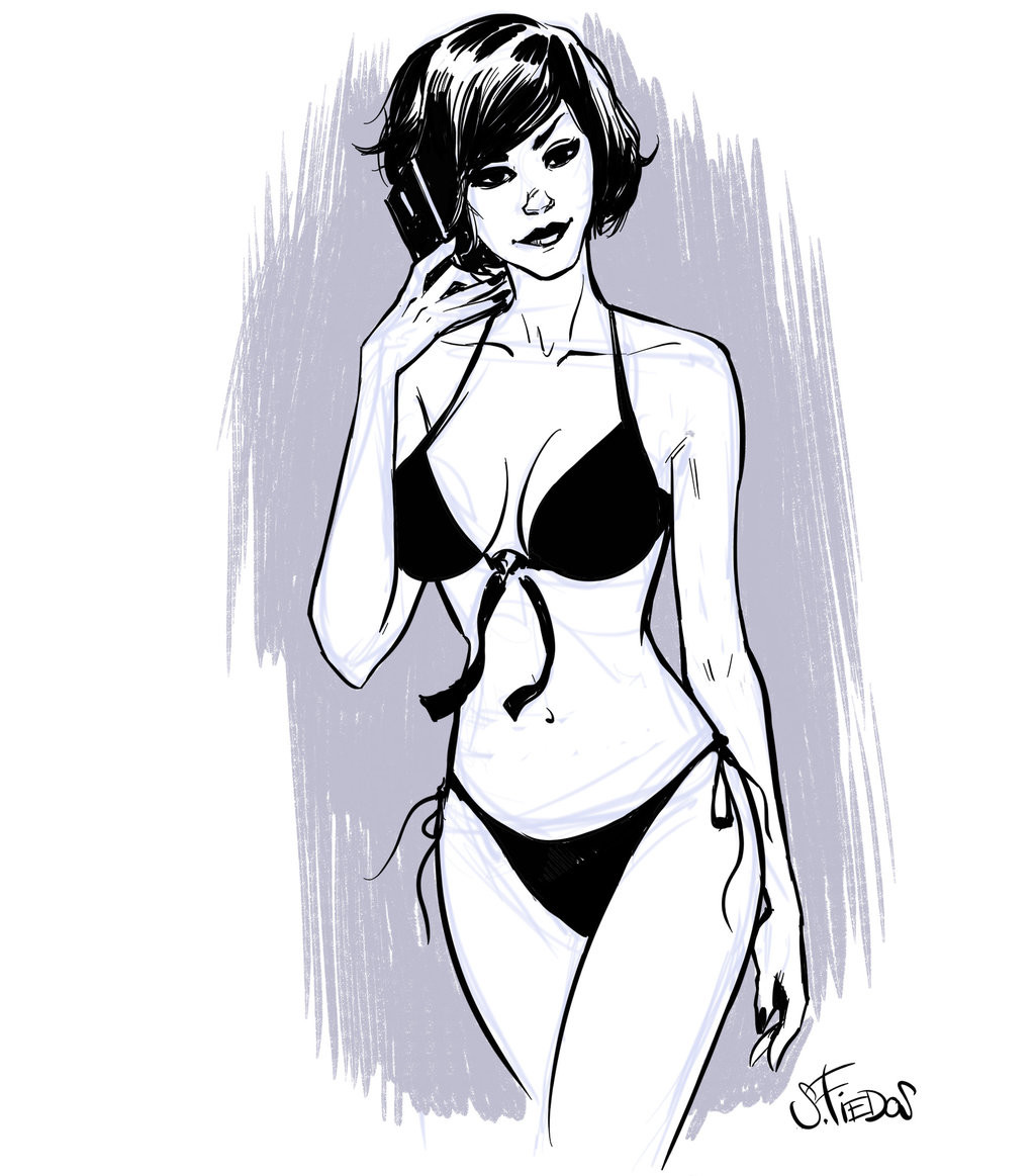 Serge fiedos quick pinup sketch of the evening by serge fiedos