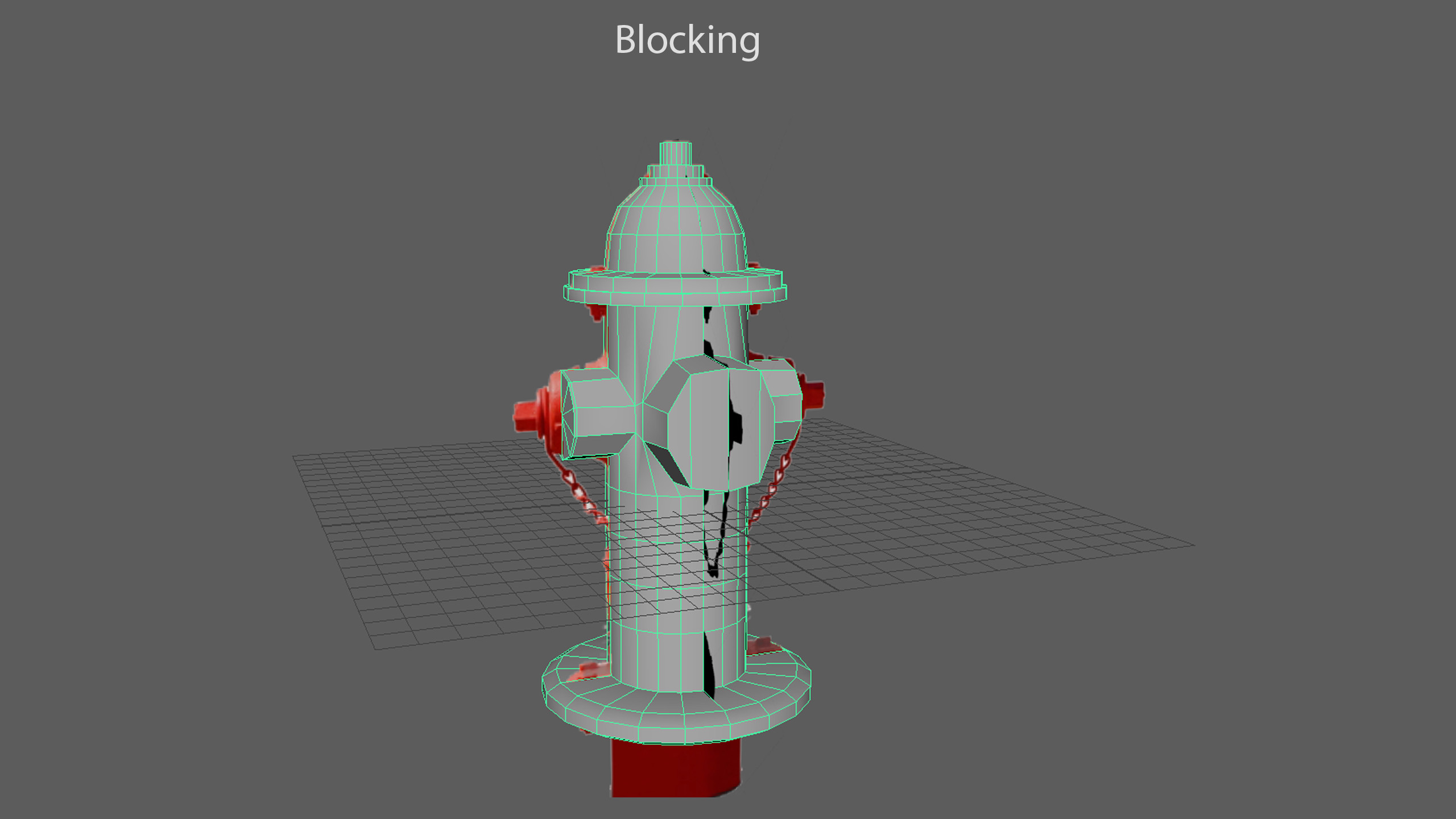 I started by blocking the model with a reference of a fire hydrant, and expanded from there.