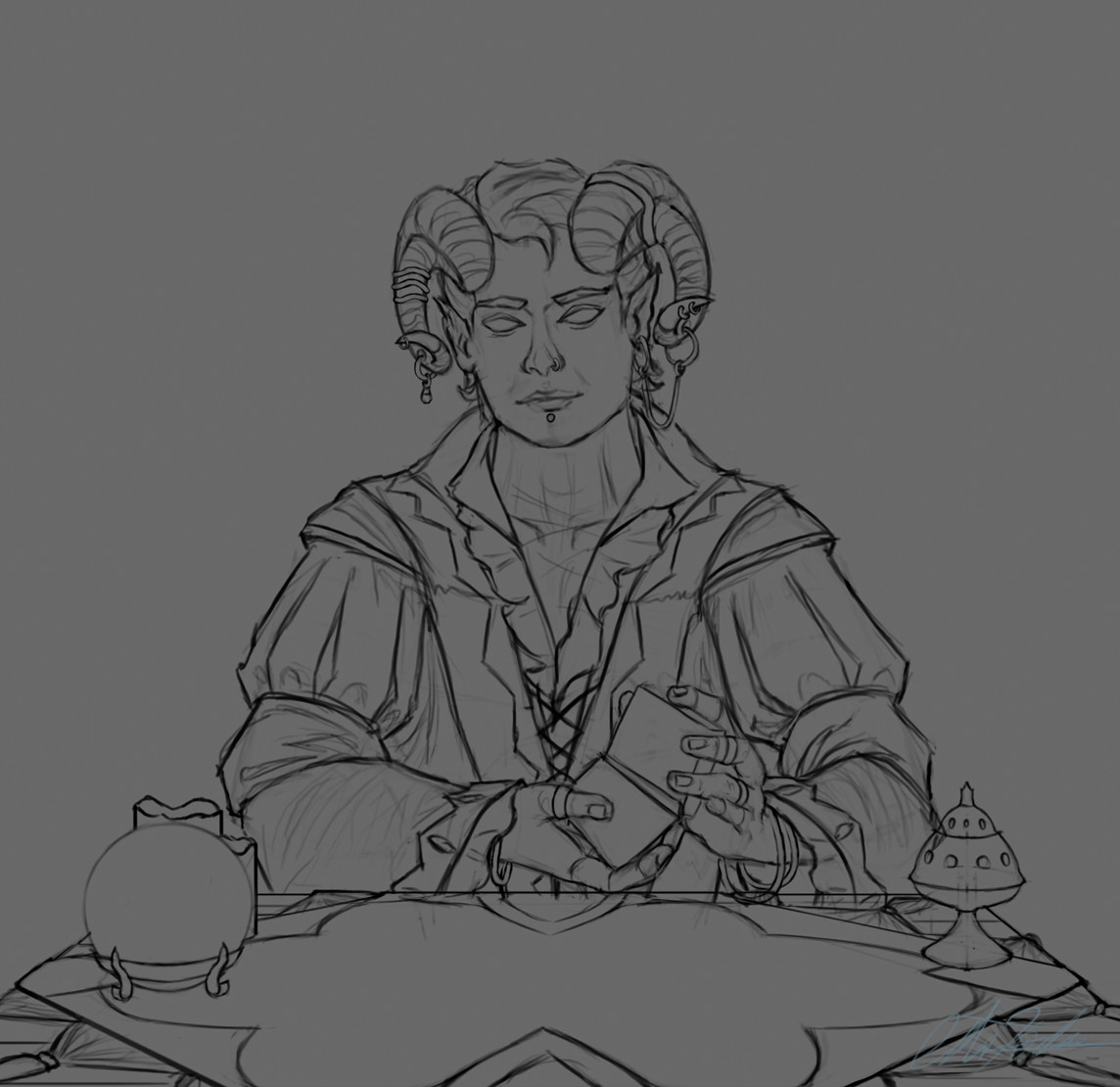 Christian hadfield dnd criticalrole molly tarot reader wip1