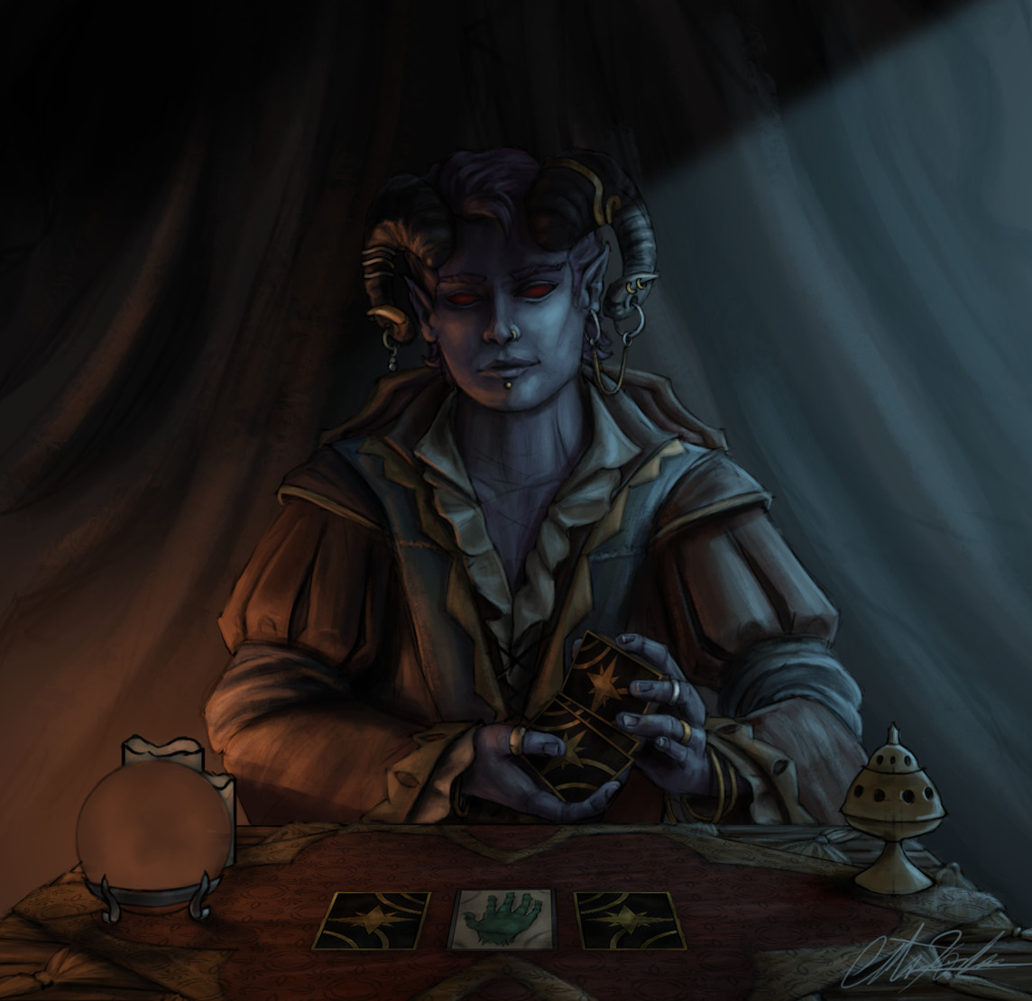 Christian hadfield dnd criticalrole molly tarot reader wip3