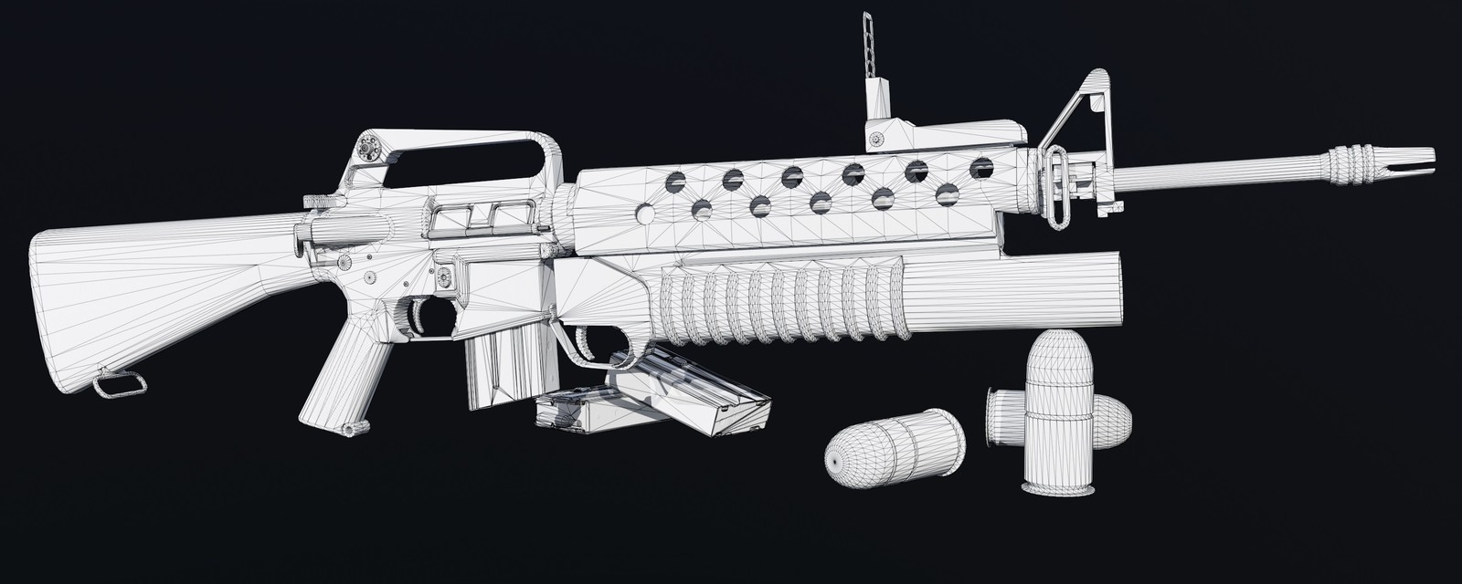 M16A1 with M203 Wireframe