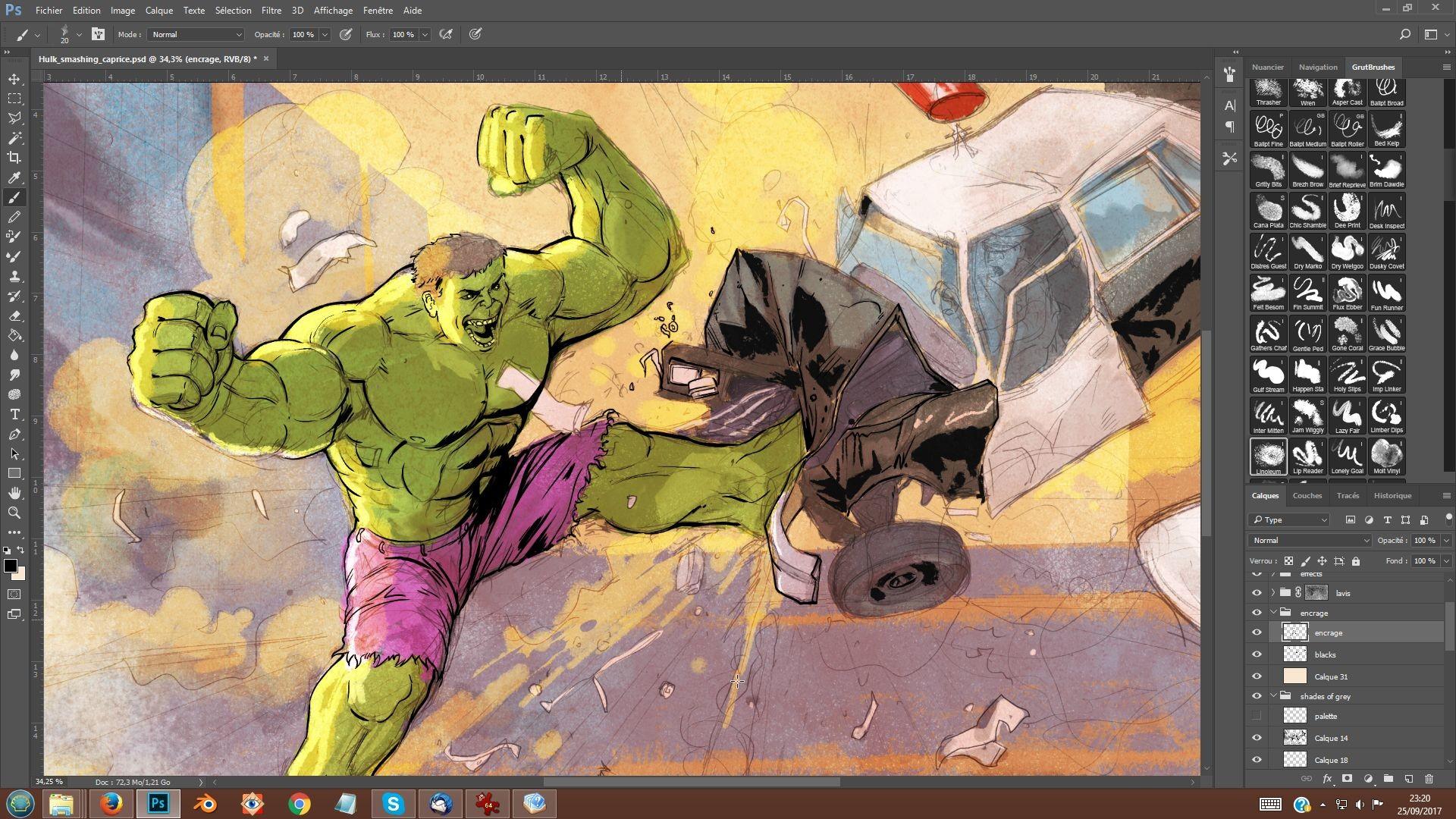Serge fiedos 07 hulk smashing caprice inking by serge fiedos