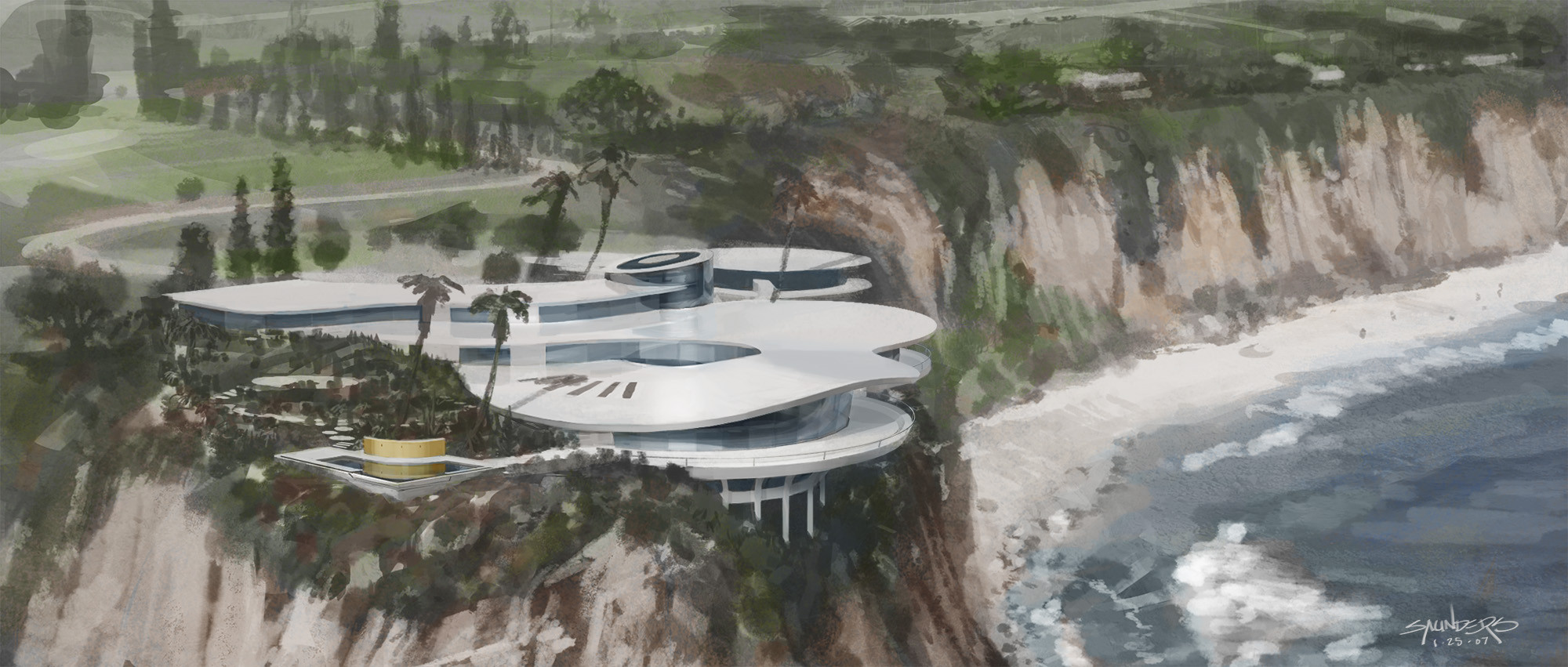 Final concept art for the Stark House on Point Dume.