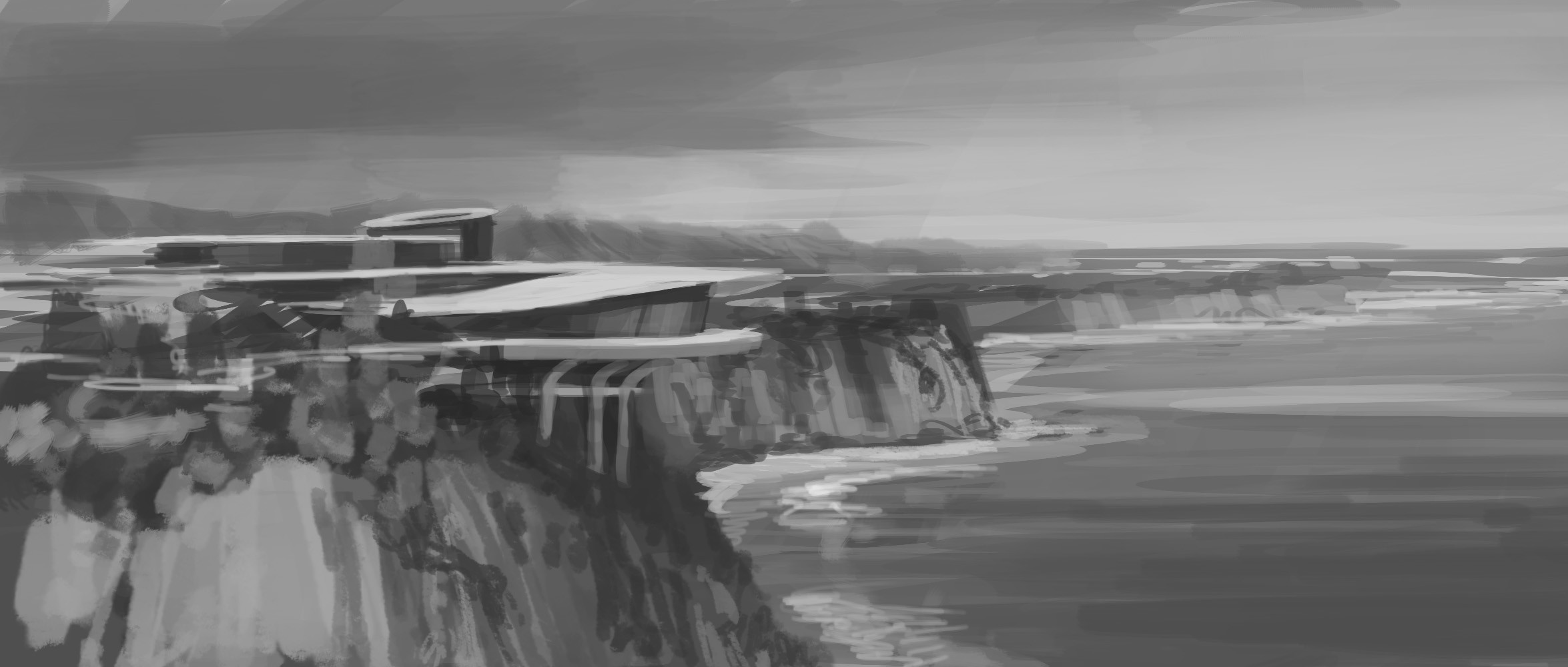 The first sketch that nailed the final look, with the terraced organic forms and spiraling roofline.